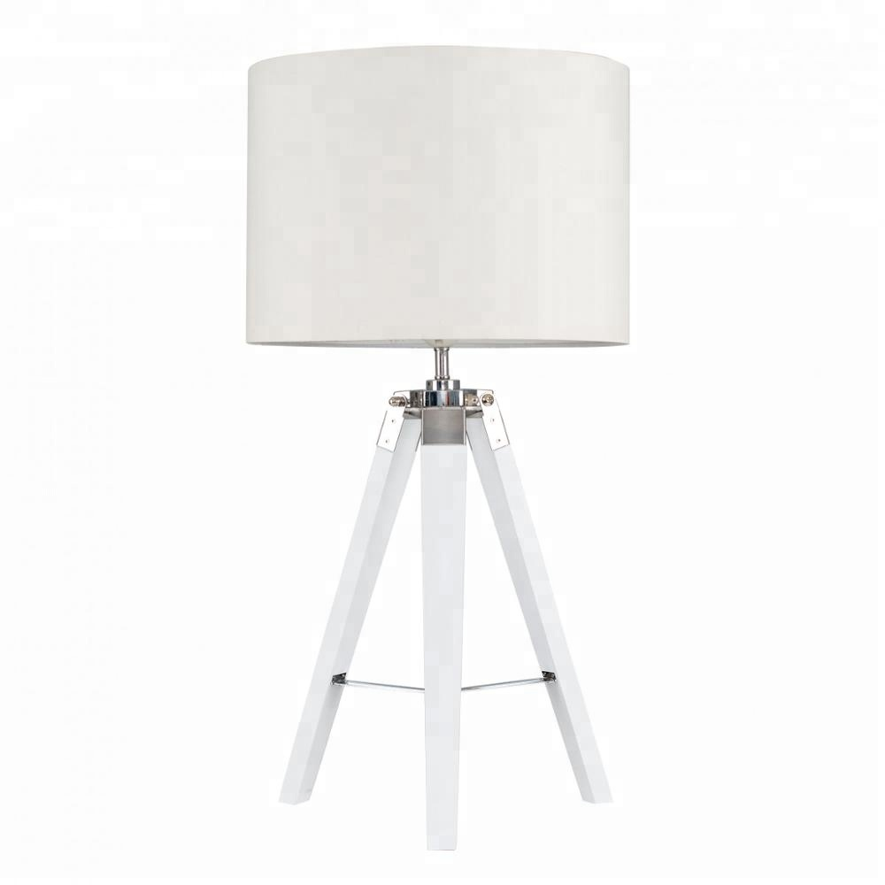 Wood Material White and Black 2 Color Options Chrome Finish Tripod Desk <strong>Lamp</strong>
