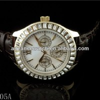 top sale cheap brand watches, stainless steel and genuine leather band, with 6 hands display, shiny crystal on the face