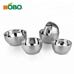 Double Wall High Quality Metal Korean 304 Stainless Steel Rice Bowl