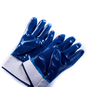 Brand MHR work place anti-oil safety cuff blue nitrile dipped glove