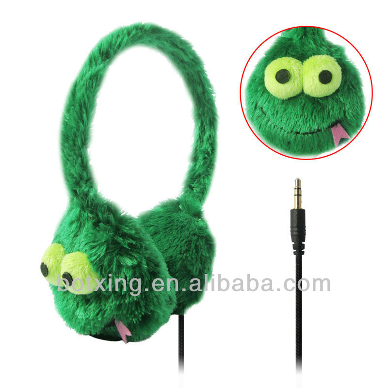 Green color good quality child headsets big eyes soft stuffed toy headphone