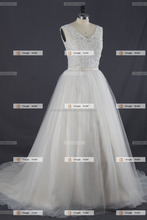 CK076 New arrival 2017 wedding dress with long train motifs lace beading ball gown