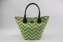 green chevron print cavas beach tote bag