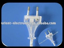 euro power cord/VDE transparent 2pin plug clear extension cord