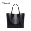 2018 Chinese Factory Wholesale Black Genuine Leather Lady Tote Bag Handbag for Women