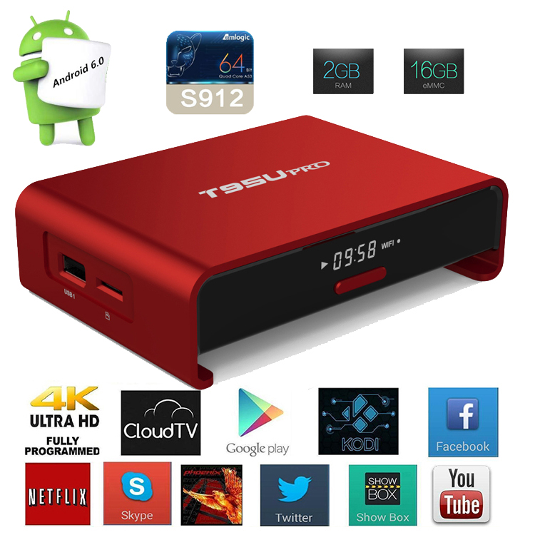 2017 Promotional T95U PRO 4K Smart Android TV Box Octa-Core Amlogic S912 WIFI 2.4G ac BT4.0 andoid tv box