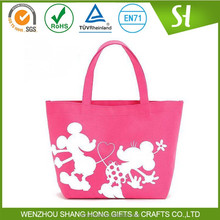 Alibaba Wholesale Custom Printed Pink Canvas Tote Bag