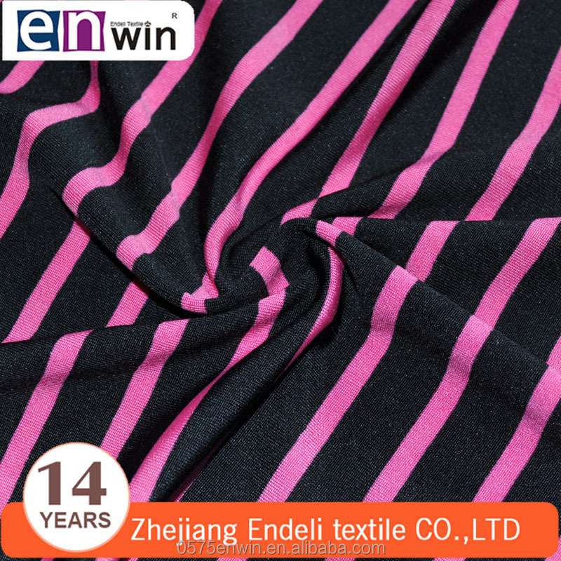 100D DTY and 20D spandex narrow striped knitted single jersey fabric for girls frock designs