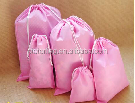 pink different size drawing bags, polyester drawstring bag, football team bags