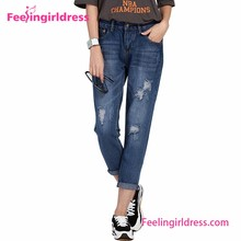 Factory Price Blue Denim Long Ripped Women Name Branded Jeans Pants