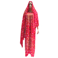 2018 Ramadan Embroidery Designs cotton Maxi Dress African Abaya with big scarf