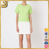High fashion women green knit boat neckline short sleeve blouse tops
