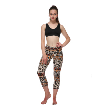 Women's printing high-waisted sport tight yoga capri seamless gym leggings