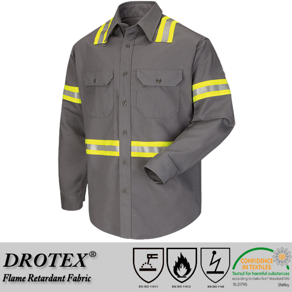 Fire Resistant ATPV 8.1 calories High Visibility Fire Resistant Uniform Shirt HRC2 Work Shirt FR WorkwearNFPA2112