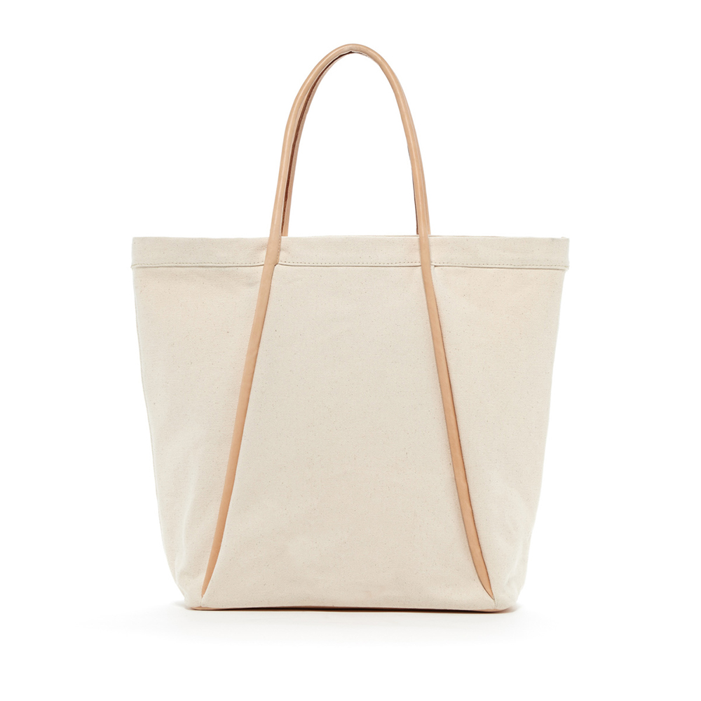 Large canvas tote bag with leather straps