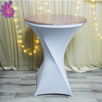 wholesale custom Spandex Cocktail Bar Table Covers with sequin fabric on top