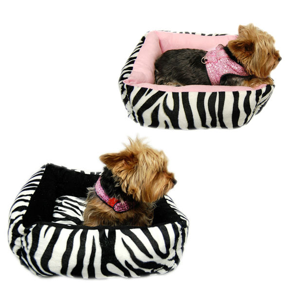 Small Dog Ultra soft Zebra Print Plush Bed with Removable Pillow