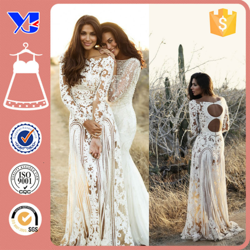 New apparel Plus size Sexy Cheap Wedding dresses China Supplier Long sleeve Lace Wedding Dresses for Fat women
