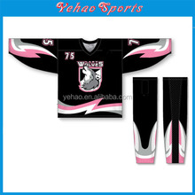 Wholesale Sublimated 100% polyester best selling ice hockey jersey