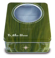 Olive oil package gift tin box with window
