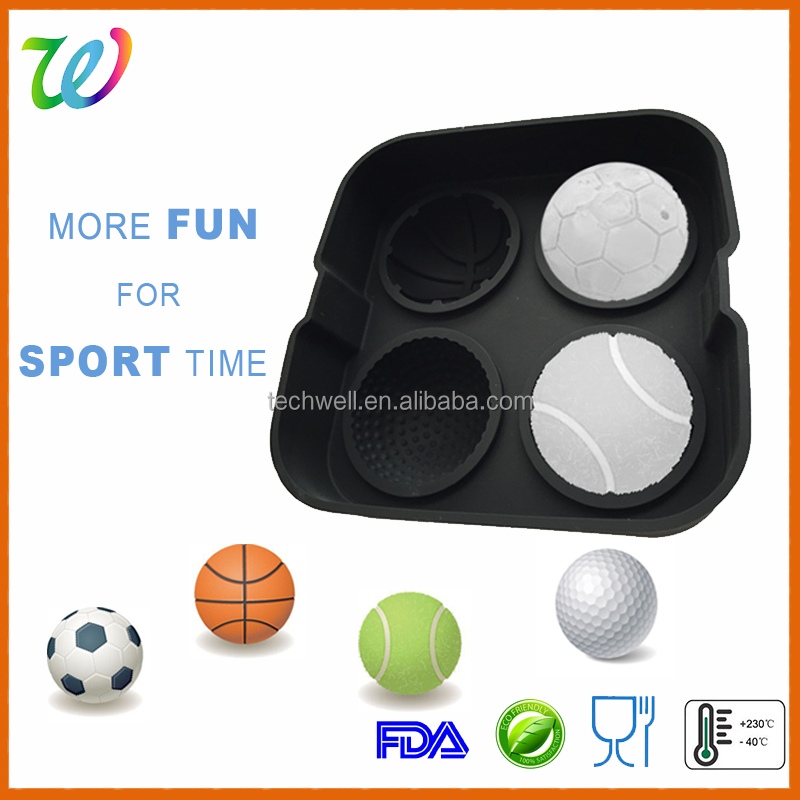 Novelty Premium 4 round shaped silicone ice ball cube tray for bar accessories