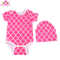 Wholesale Plain Cotton Baby Summer Onesie Print Color Short Sleeve Unisex Baby Rompers Blank Onesie with Hats