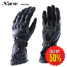 Outdoor Sports Motocross Off-Road Motorcycle Riding Knight Glove Full Finger Cow Leather Carbon Fiber Racing Gloves