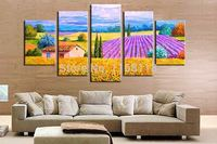 5 piece decorative art set modern wall art Pastoral Sunflowers Field Scenery Landscape hand painted Oil Painting on Canvas