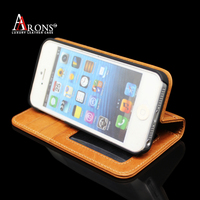 Genuine leather folio opening phone case wallet card slot case for iphone5/5s/SE cover