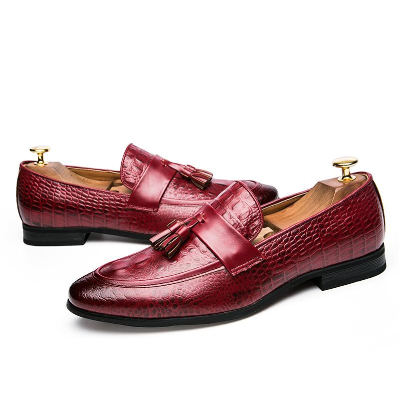 men winter italian fashion snake skin brogue leather oxford tassel slip on pointed toe shoes designer male formal cool footwear  (44)