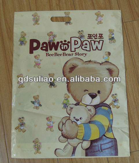 top quality color printed top fold die cut handle plastic bag for shopping