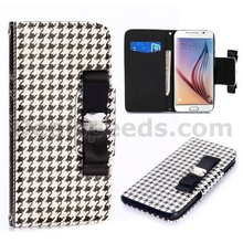 Houndstooth Swallow Gird Pattern Wallet Style Magnetic Flip Stand PC +PU Leather Case for Samsung Galaxy S6 G9200