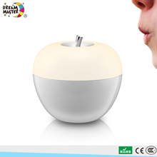 Creative Cute Apple Design Battery Operated Bedside Blow Control Night Light RGB Colorful Portable LED Restaurant Table Lamp