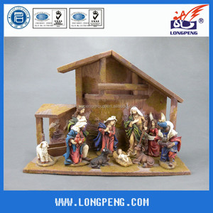 Christmas resin nativity house and figurines set ,holy family figurine with wooden house