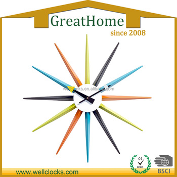 high quality and home decoration stylish and sun shape design wall clock