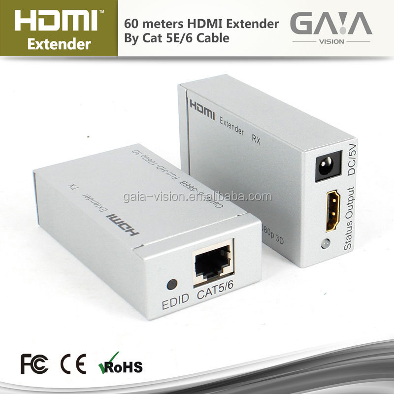 HDMI Extender 60M over Single Cat5e/6 with IR Full HDCP 3D 1080P 720P powerline hdmi extender cat5e x1