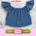 Infant Toddler Baby Girls Summer Clothes Butterfly Denim off the shoulder flutter baby crop top t-shirts