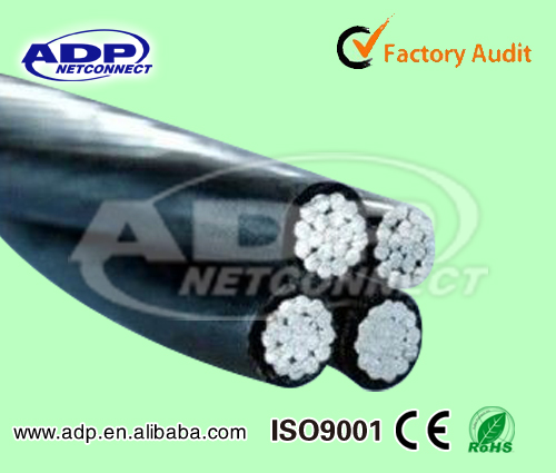 XLPE / PVC Insulated Aluminum overhead aerial bundle cable ACSR conductor for power transmission line