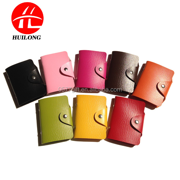 PU Leather Business Name Credit Card 24 Bank Card Bag Case Card Holder