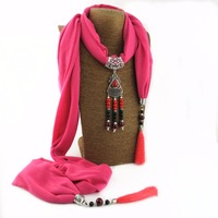 New Arrival 2017 Fashion Women's Long Polyester Scarf Necklace with Beads Pendant and Tassels
