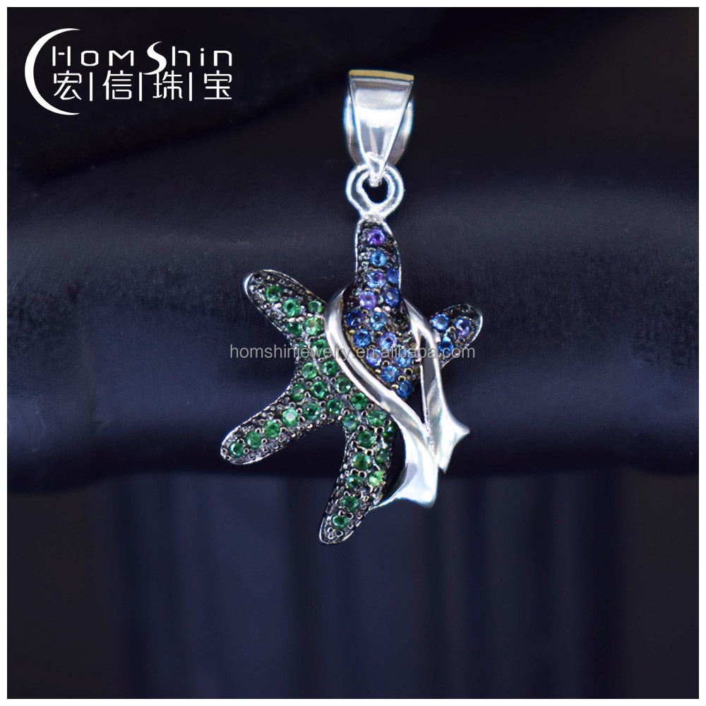 Lovely style sea animal jewelry star shape CZ silver pendant