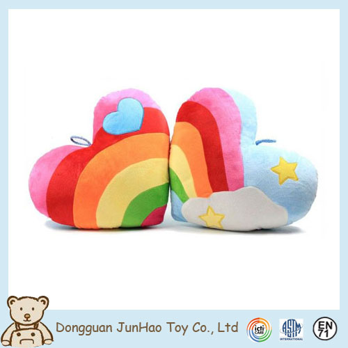 Custom Plush Cushion and Pillow Colorful Heart Shape Stuffed Cushion Plush Toy
