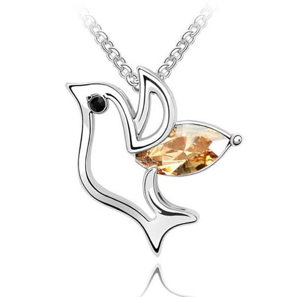 Alibaba Express Hong Kong Jewelry Wholesale Crystal Bird Necklace