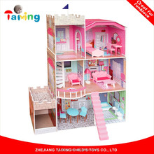 New fashion Castle Version Big mini Wooden diy Doll House teaching Toy for kids