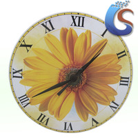 Sunflower design Round ceramic Home Decor Wall Clock