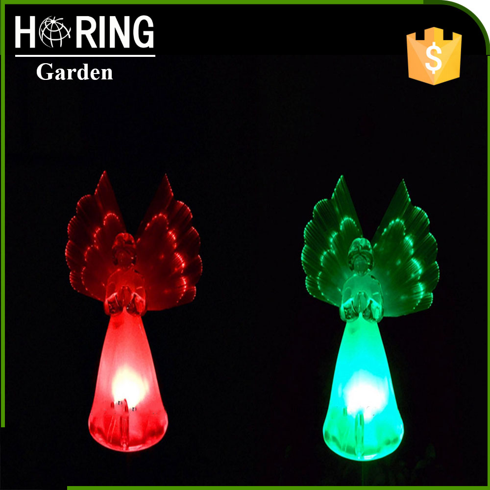 color changing solar led outdoor garden light angle stick light with wing in new production