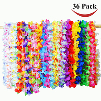 Wholesale 2017 most popular hawaii flower lei fashion 36counts tropical hawaiian luau flower lei for colorful party favors