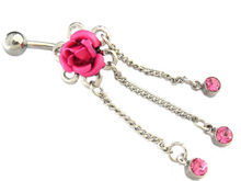 Dangle flower belly ring navel ring Dangle Belly Button Rings Surgical Steel