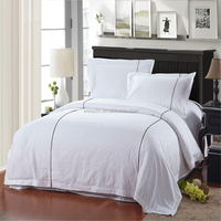 Hot Sale White 250Thread Count Cotton Plain Style King Queen Twin Size Bedding Set