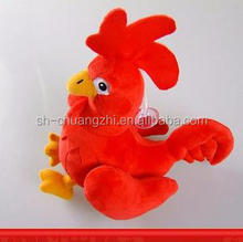 stuffed red rooster toy with small yellow feet for kids